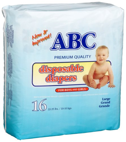 A.B.C. Diapers Large Diapers (22-35 Lbs), 16 Count (Pack of 12)