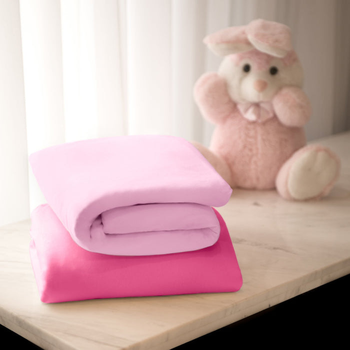 Clevamama Jersey Cotton Fitted Sheets (Cot Bed, 70 x 140 cm, Pink, Pack of 2)
