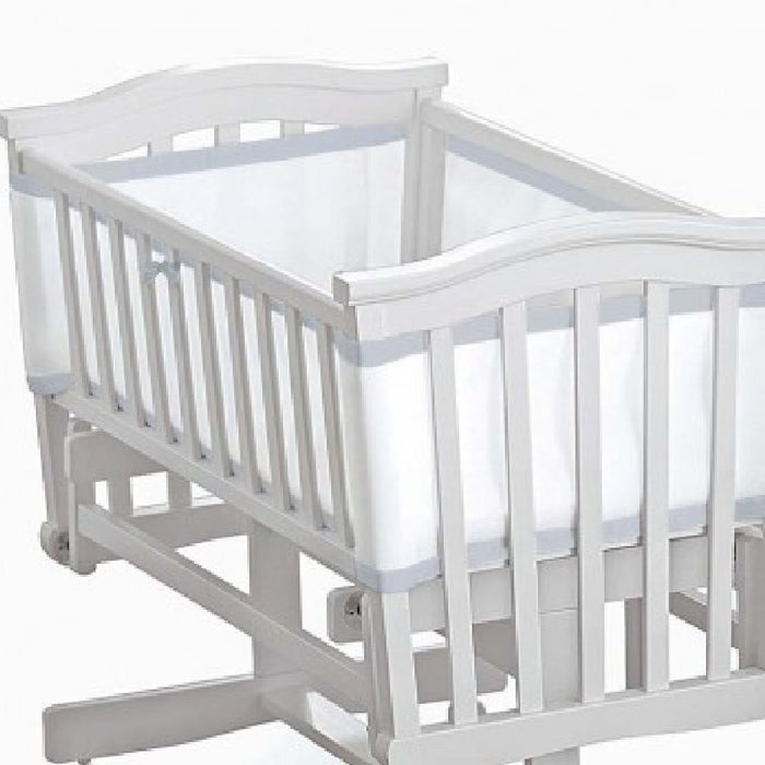 BreathableBaby 4-Sided Crib Mesh Liner (White with Silver Trim)