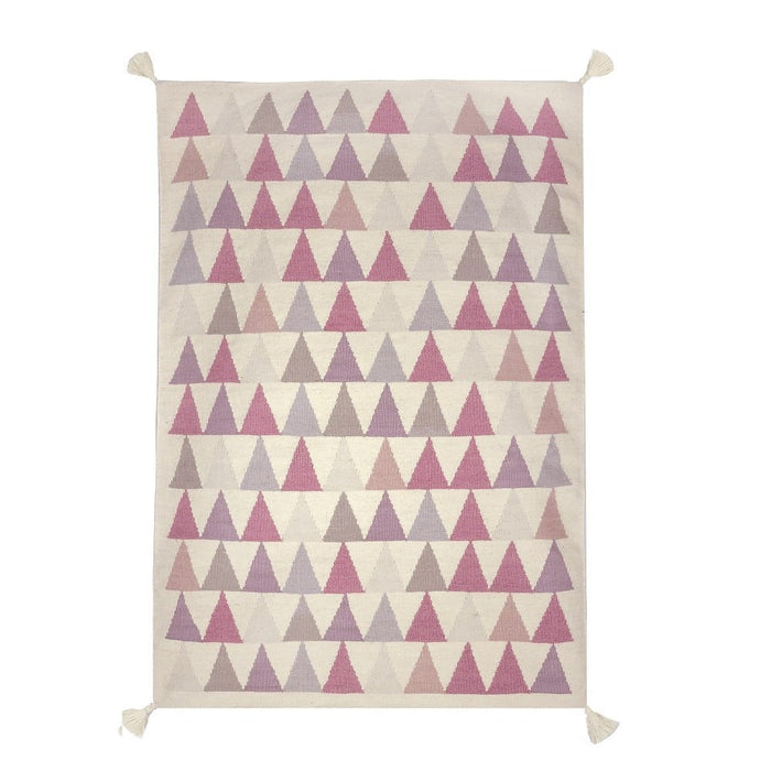 Art For Kids 110 x 160 cm 100 Percent Handwoven High Quality Beautiful and Durable Virgin Wool Kilim Rug, Pink