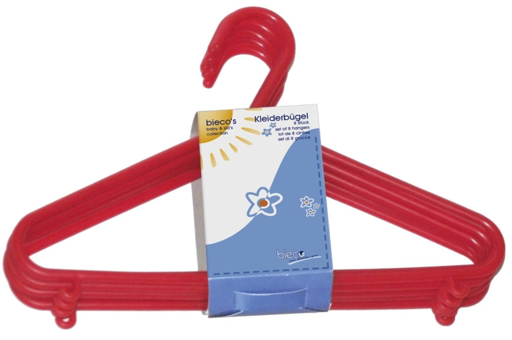 Bieco 90032142 Children's Coat Hangers Plastic Set of 32 Red
