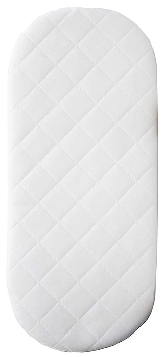 Mother Nurture 67x30x4cm Quilted Foam Moses Basket or Pram Mattress Rounded Both Ends
