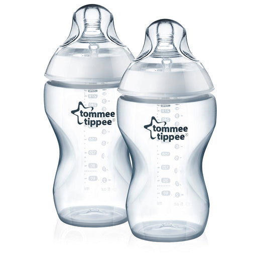 Tommee Tippee Closer to Nature 340 ml/11 floz Feeding Bottle, 3 Month+ - Clear, Pack of 2