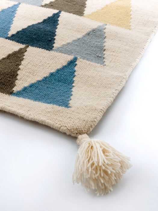 Art For Kids 140 x 200 cm 100 Percent Handwoven High Quality Beautiful and Durable Virgin Wool Kilim Rug, Blue