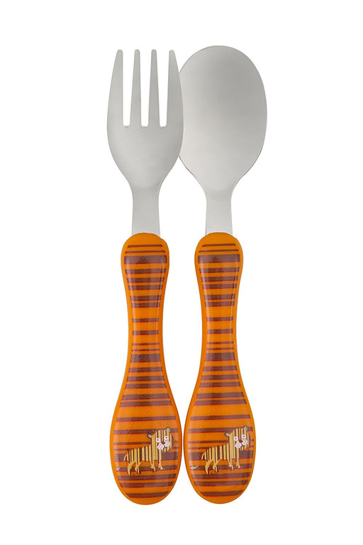 Lassig Kids 2 Set Stainless Steel Cutlery Fork and Spoon Utensil Set with Case, Wildlife Tiger