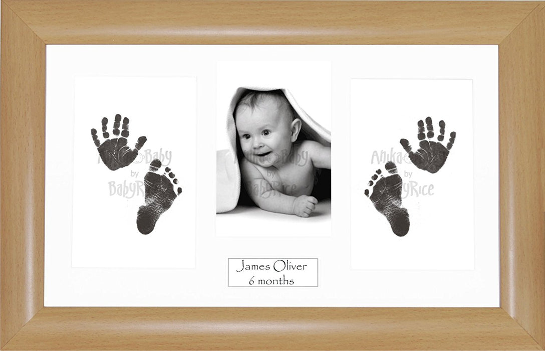 Anika-Baby BabyRice Baby Hand and Footprints Kit includes Black Inkless Prints/ Beech effect Frame with White Mount Display