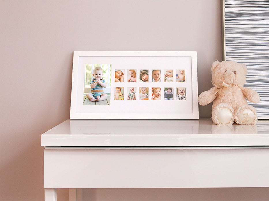 Pearhead Moments Keepsake Photo Frame, My First Year, White