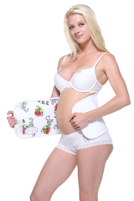 Belly Bandit Couture Belly Wrap with Hearts Love (Large, White)
