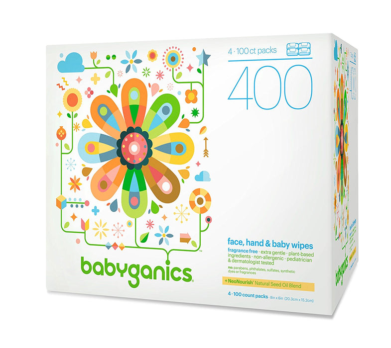 Babyganics Face, Hand & Baby Wipes, Fragrance Free, 400 Count (Contains Four 100-Count Packs)