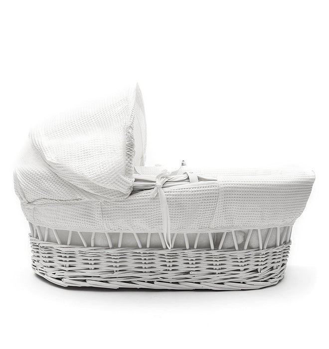 Kinder Valley Waffle Wicker Moses Basket (White)