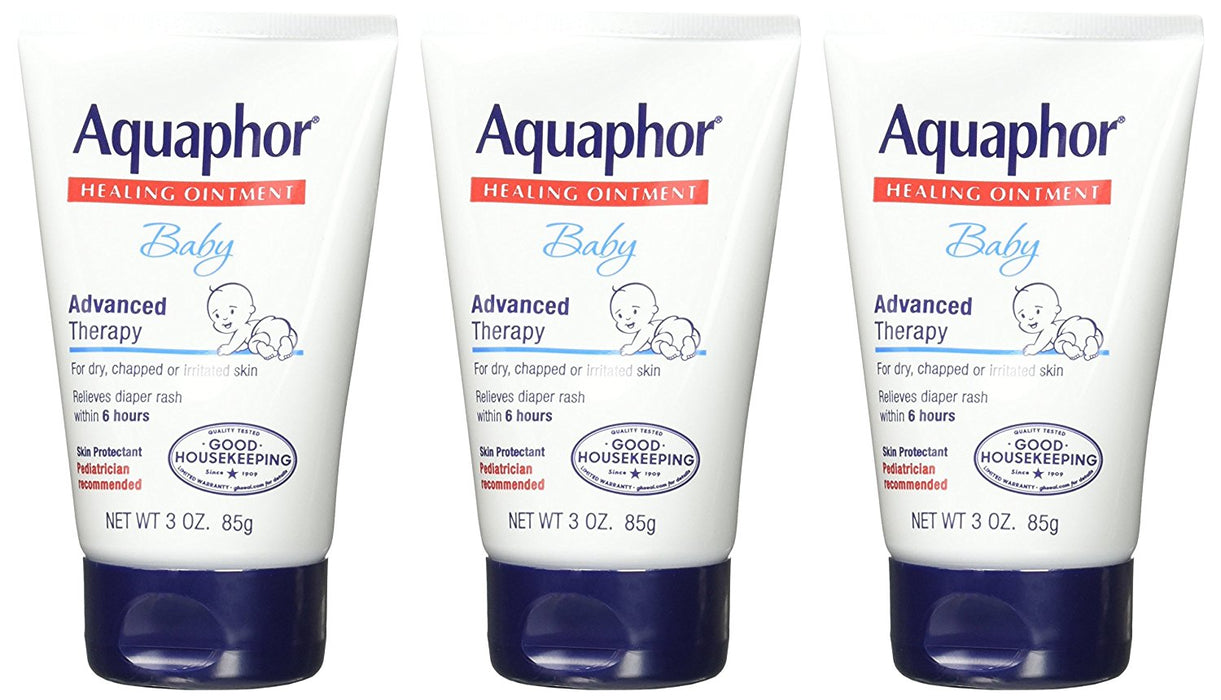 Aquaphor Baby Advanced Therapy Healing Ointment Skin Protectant 3 Ounce Tube (Pack of 3)
