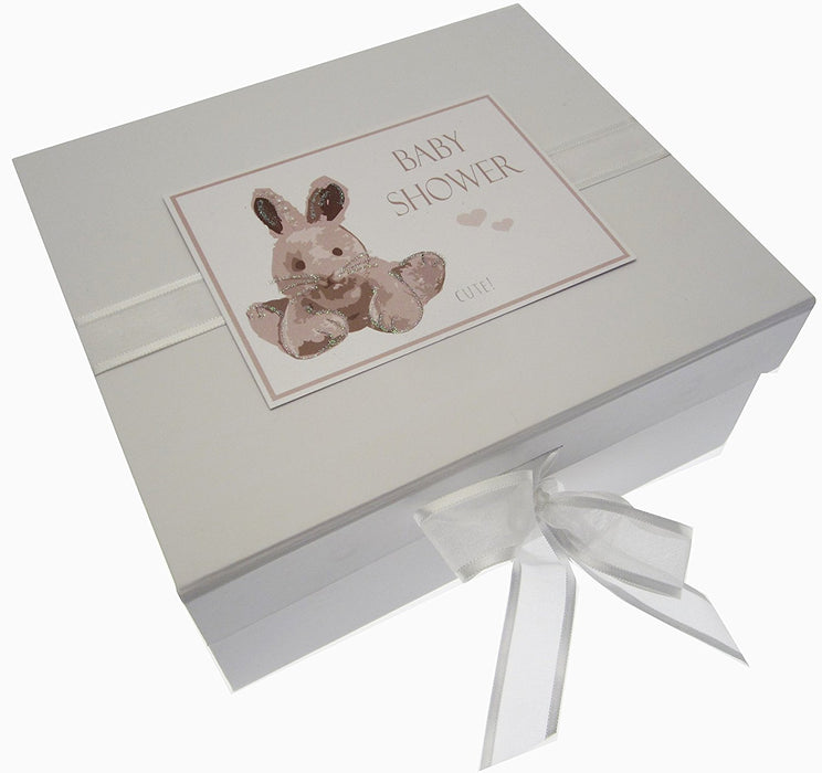 Baby Shower, Small Keepsake Box, Silver Bunny
