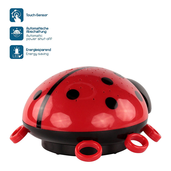 ANSMANN Child's LED Nightlight ladybird with starlight projection onto walls and ceilings in darkness, colour changing setting, ideal for kid's bedroom as great sleeping aid - babies / children / adults - 5870012 [Energy Class A]