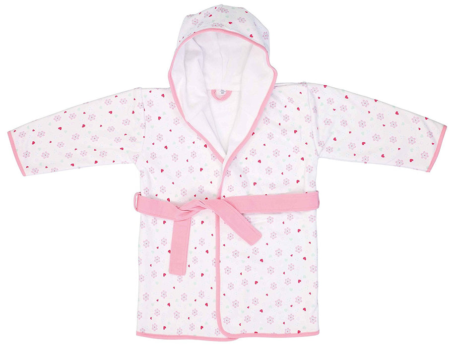 bébé-jou Sweet birds - baby bath robes (Cotton, Pink, White, Pattern)