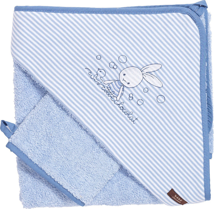 Baby Bath Cape with Glove Blue 75 x 75 cm