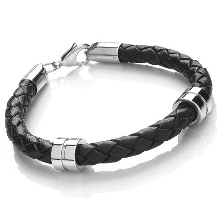21cm Men's black 6mm leather stainless steel bracelet with lobster catch