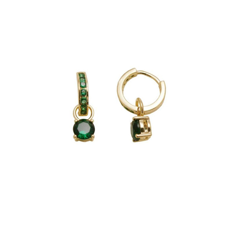 18kt gold filled small dangle earing (green)