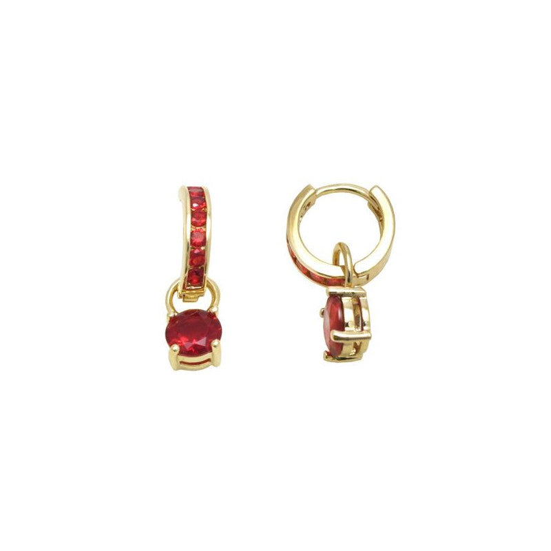 18kt gold filled small dangle earring (red)