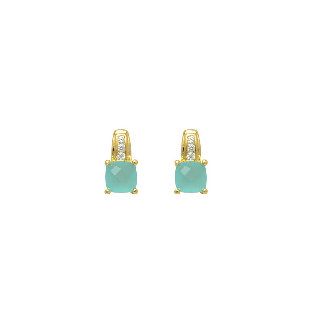 Gold filled 18kt square cut earings (pastel blue)