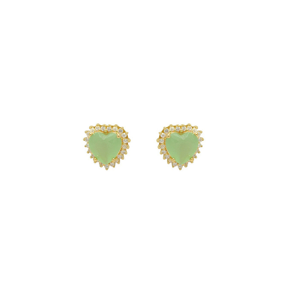 Gold filled 18kt pastel green love hearts earing