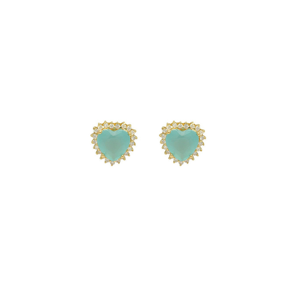 Gold filled 18kt pastel blue love hearts earing