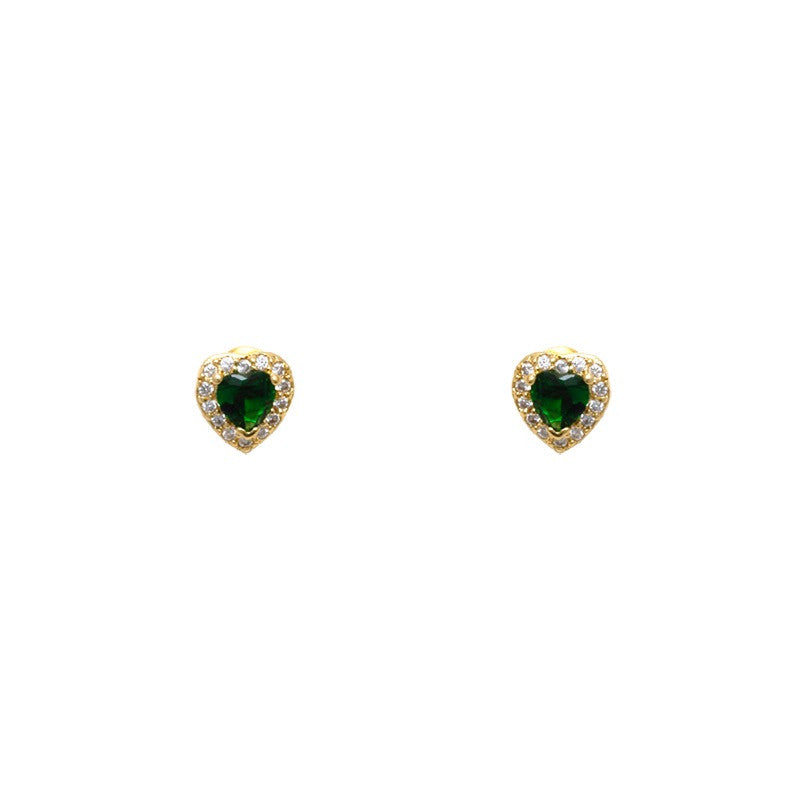 Gold filled 18kt emerald green love hearts earings