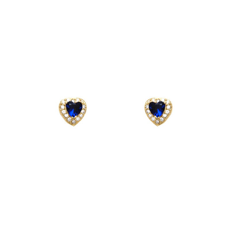 Gold filled 18kt royal blue love hearts earings