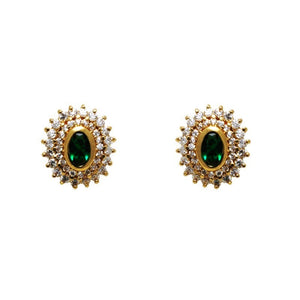 18kt gold filled emerald earing