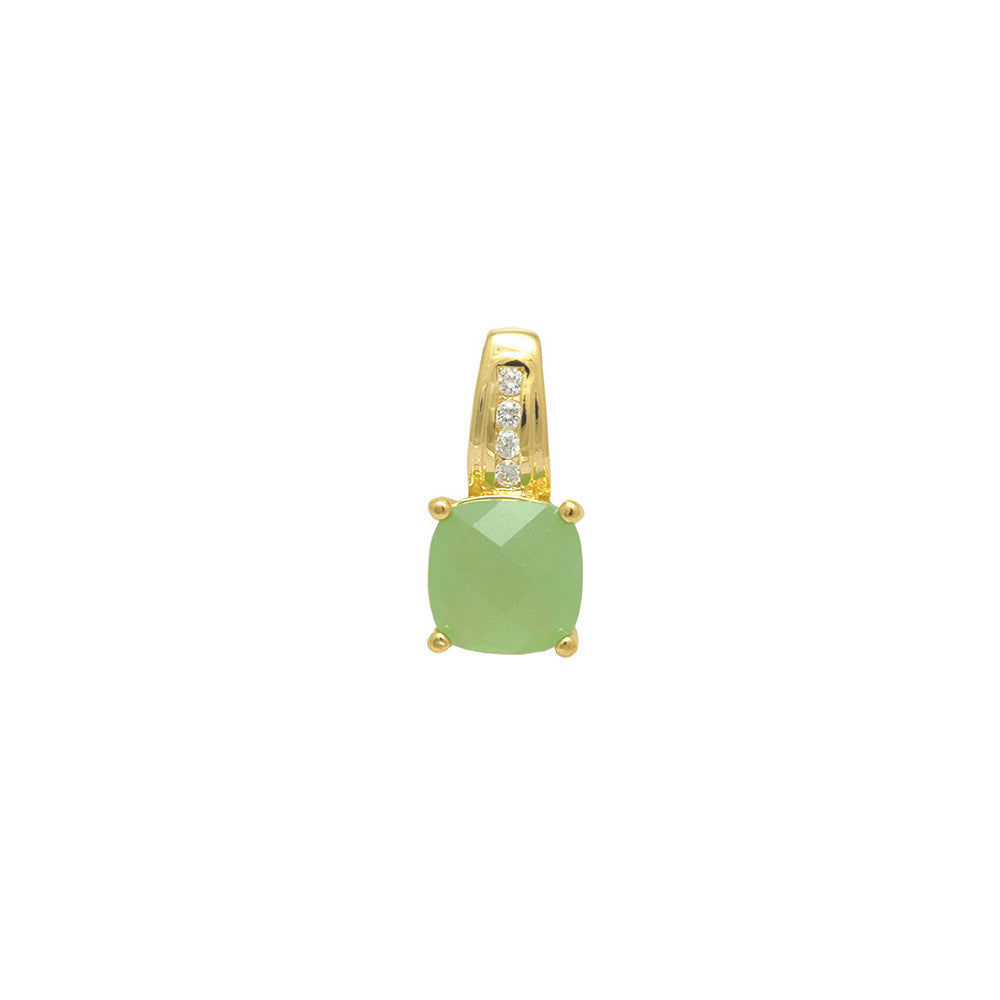 Gold filled 18kt square cut pendant (pastel green)
