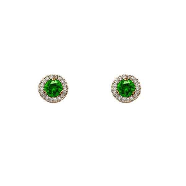 18kt gold filled emerald green pave studs