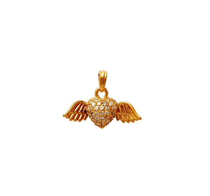 18kt gold filled winged heart pendant (small)