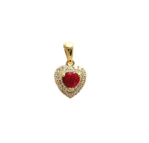 Gold filled 18kt fuschia pink love hearts pendant
