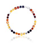 Amber Silver multi-shade cube bracelet