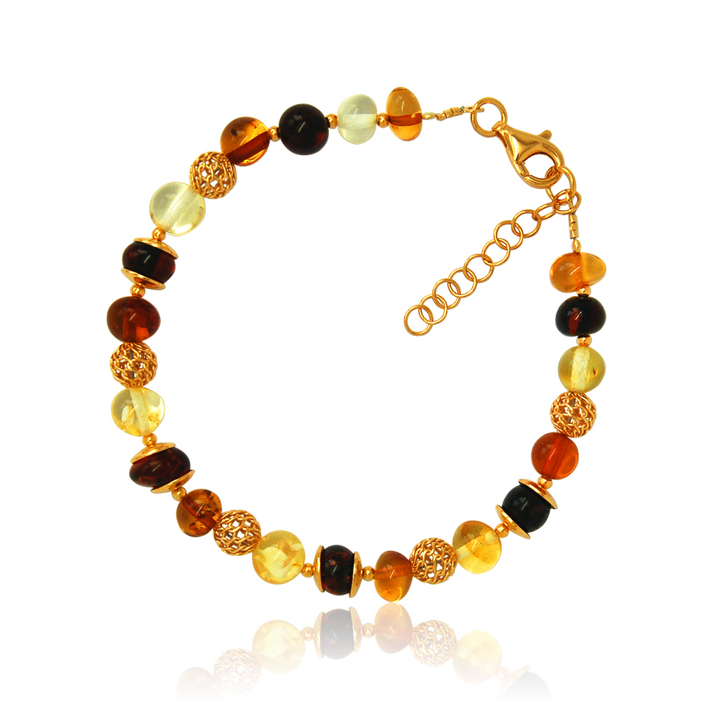 Amber gold plated multi shade round bracelet