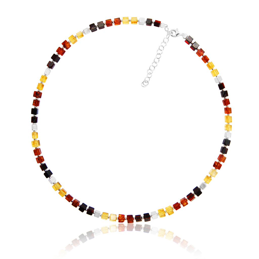 Amber Silver multi-shade cube necklace