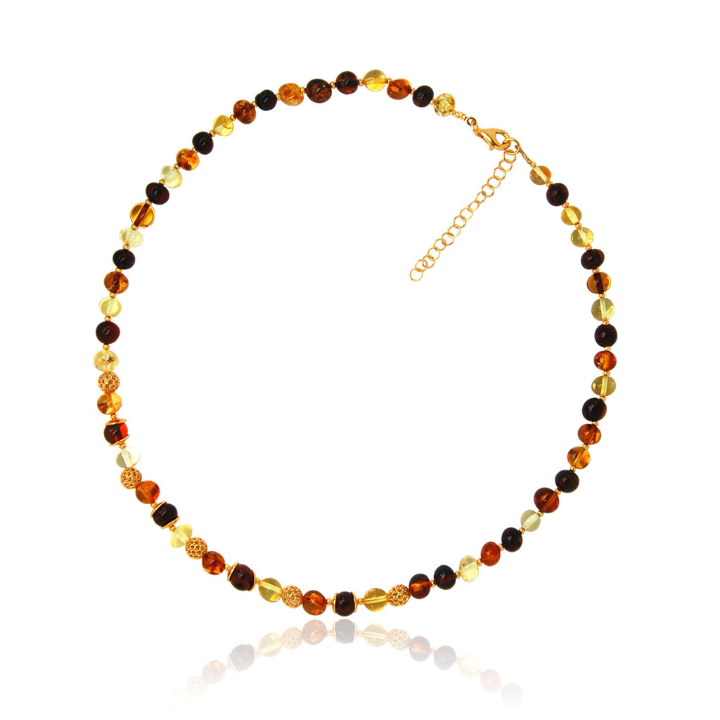 Amber gold plated multi shade round necklace