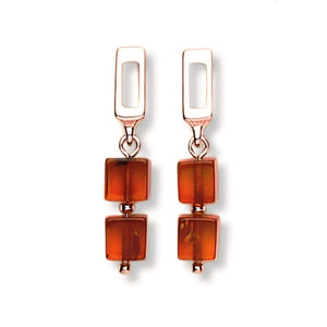 Amber silver 2 cube drop earrings