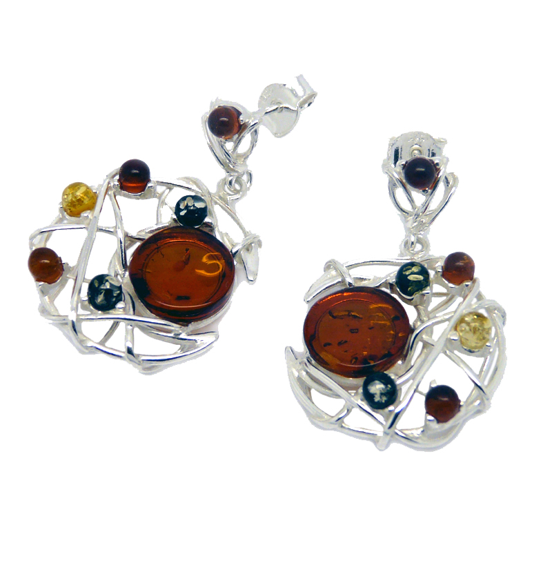 Amber silver multi coloured dreamcatcher earrings