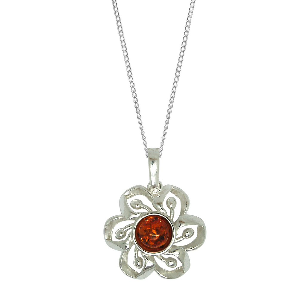 Amber silver round flower necklace