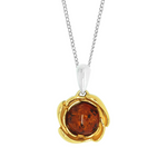 Amber silver rose gold pendant