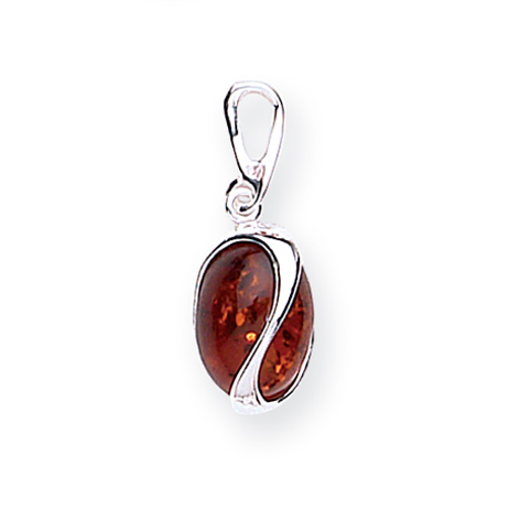 Amber silver oval curved split pendant