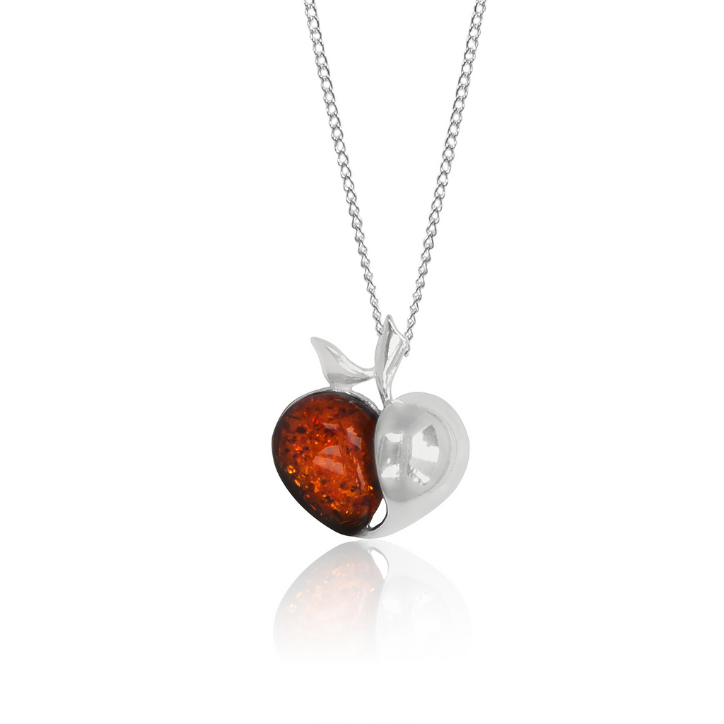 Amber silver apple pendant and necklace