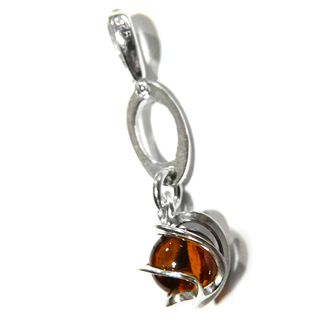 Amber & sterling silver globe earings encased in waves