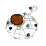 Amber silver multi coloured dreamcatcher necklace