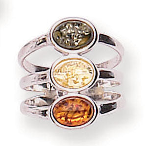 Amber silver triple multi coloured ring