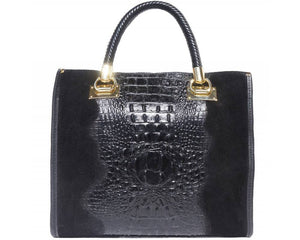 Open Tote bag in embossed crocodile patent calf-leather in black