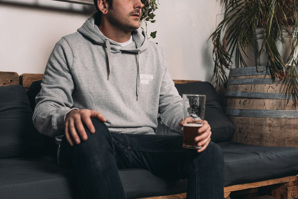 UNISEX GREY NORTHERN MONK PULL OVER HOODIE