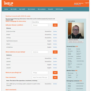 iHELP digital medical record (SOS ID code)