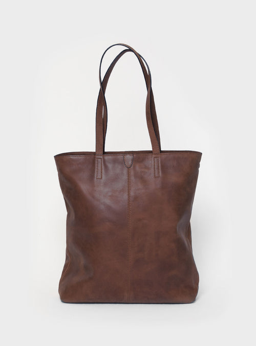 TB02 ZIP Tote Bag Dark-Brown  - View 1