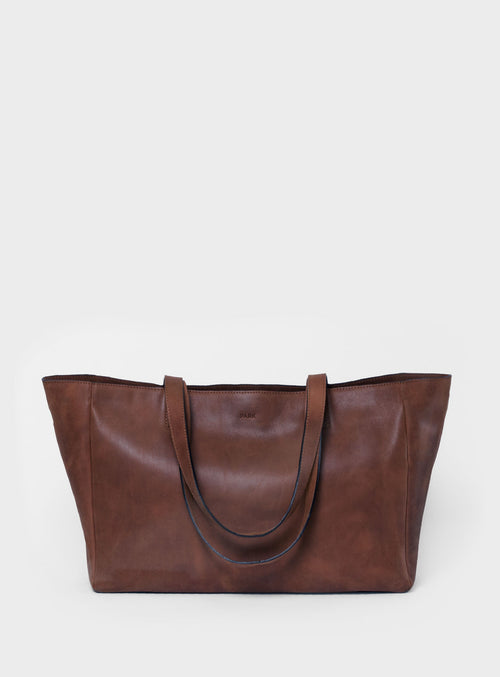 TB03 ZIP Tote Bag Dark-Brown  - View 1